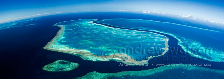 "Aerial view of ""The River"", a 200 ft deep channel running between Hardys Reef, Hook Reef and Line Reef"