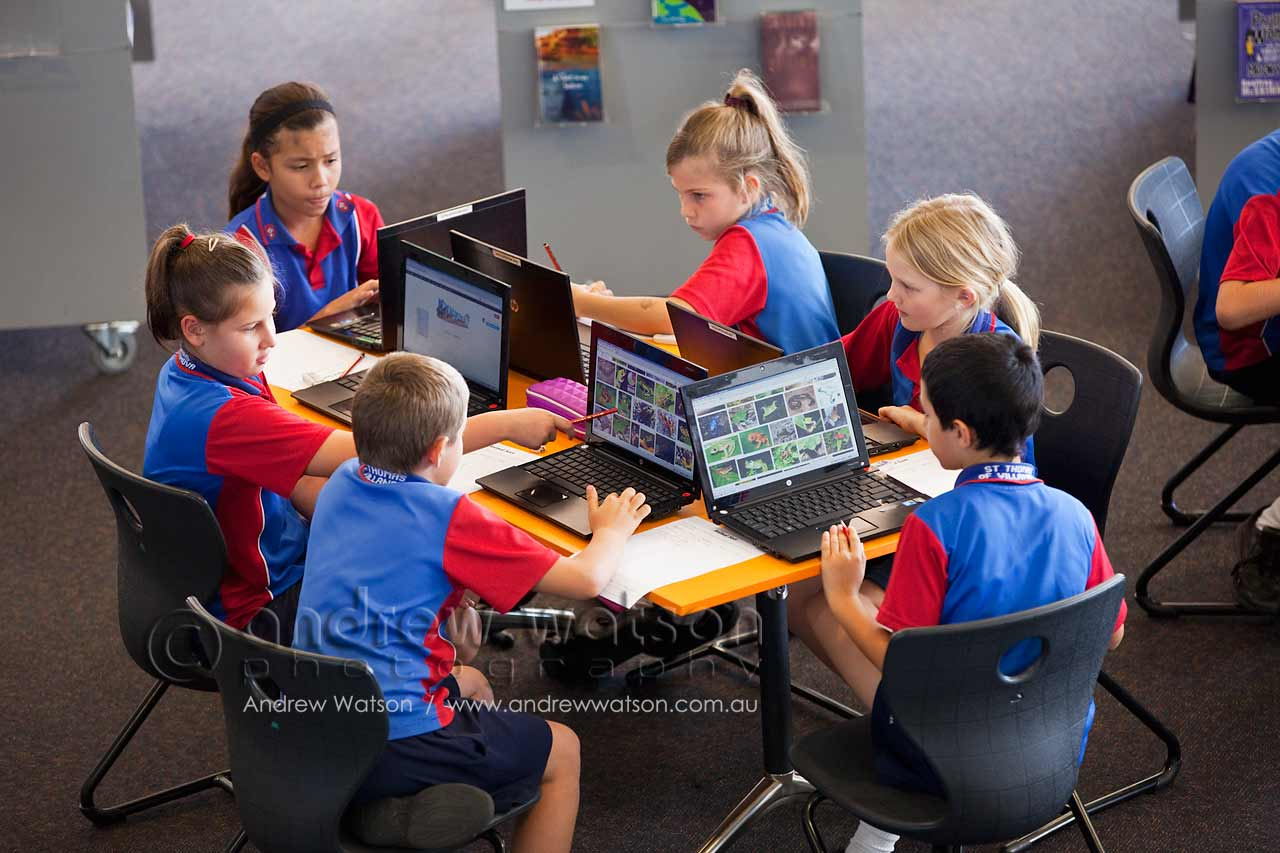 Young students researching in the library
