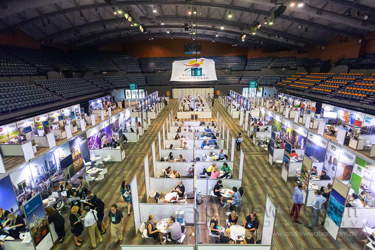 Tourism buyers and sellers engaged in appointments on the  trade show floor