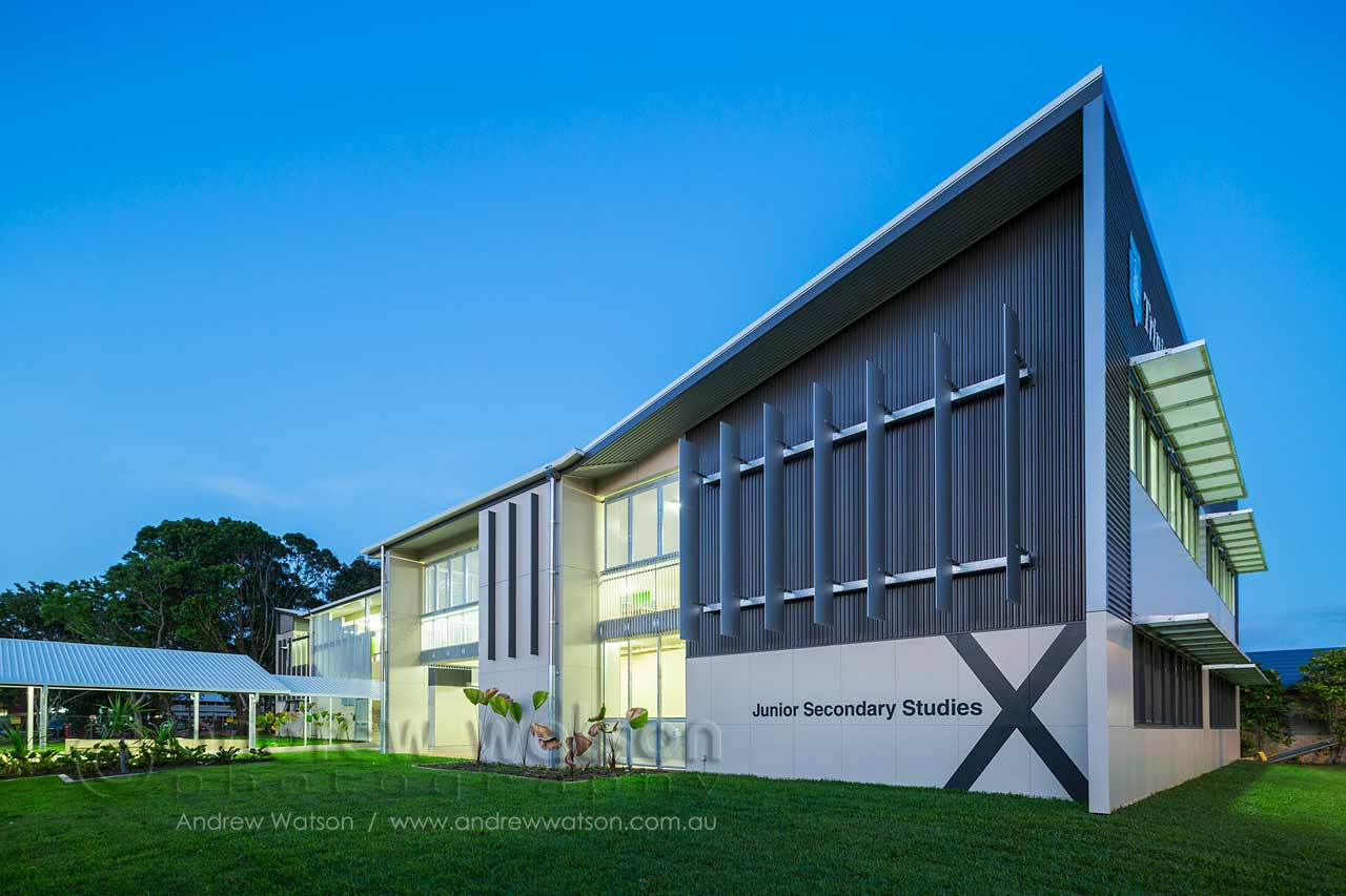 Twilight view of the Junior Secondary Studies building