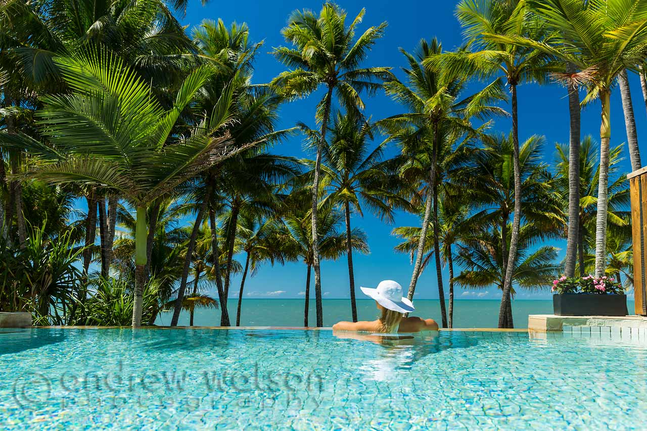 Relaxing in the pool overlooking Palm Cove beach