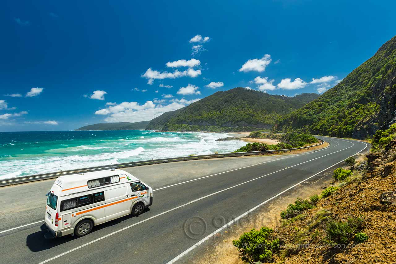 Britz Voyager campervan on a scenic stretch of the Great Ocean Road