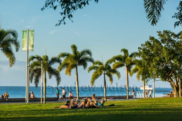 People relaxing on the Esplanade lawn, Cairns