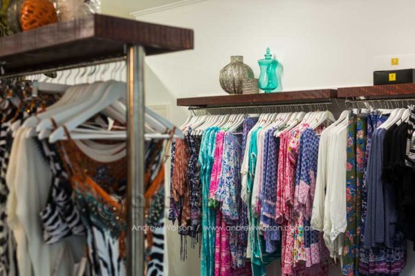 Clothing racks in Gypsett fashion boutique, Oceana Walk Arcade