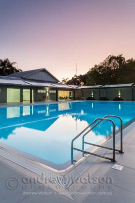 The 25m pool and sun deck for the Oceans Edge health centre, Palm Cove