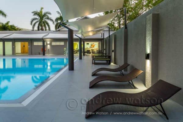 The 25m pool and lounge area for the Oceans Edge health centre, Palm Cove