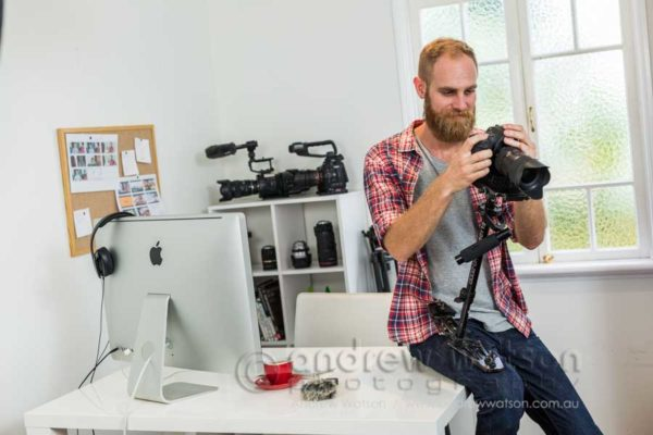 Small business owner, videographer Glenn Saggers, at Threadless Films