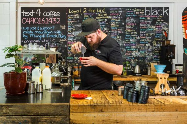 Troy Furner, owner and operator of Blackbird Cafe preparing a coffee
