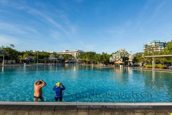 Morning swimmers at the Cairns Esplanade Lagoon