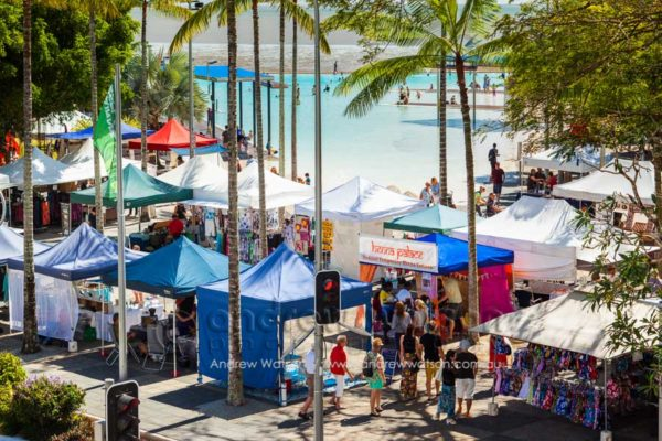 Stalls beside the lagoon at the Cairns Esplanade Markets