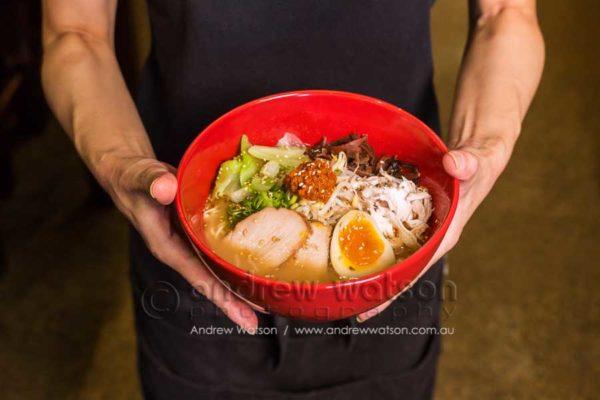 Bowl of Japanese noodles at Ganbaranba, Cairns