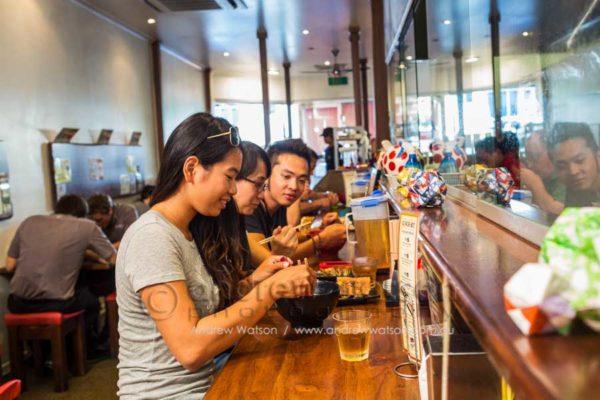 Diners enjoying the ramen noodles at Ganbaranba, Cairns