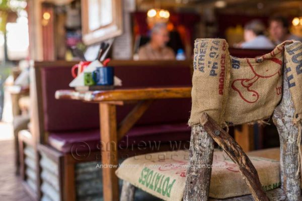 Rustic seating at the Iron Bar, Port Douglas