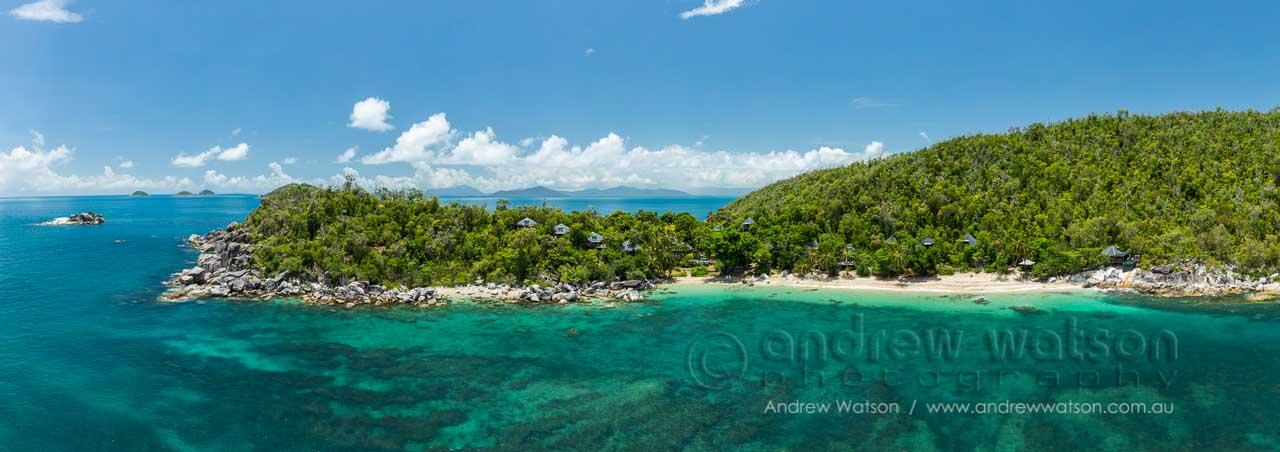 View of Hernandia Bay and the luxury villas of Bedarra Island Resort, Mission Beach