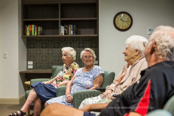 Residents in the new tv room at Regis Caboolture