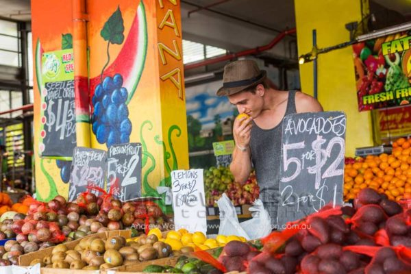 Man shopping for fresh produce at Rustys Markets, Cairns