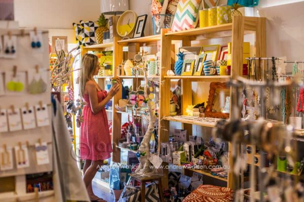 Woman shopping for homewares at With Sugar, Port Douglas