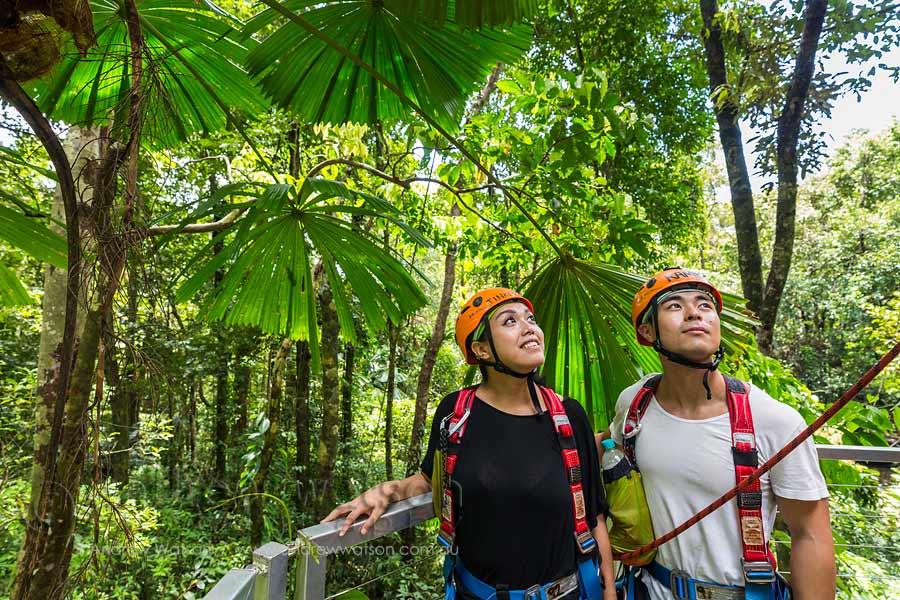 Asian couple enjoying rainforest view from platform