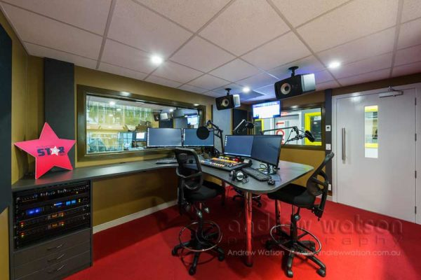 Interior image of Zinc FM radio station studio