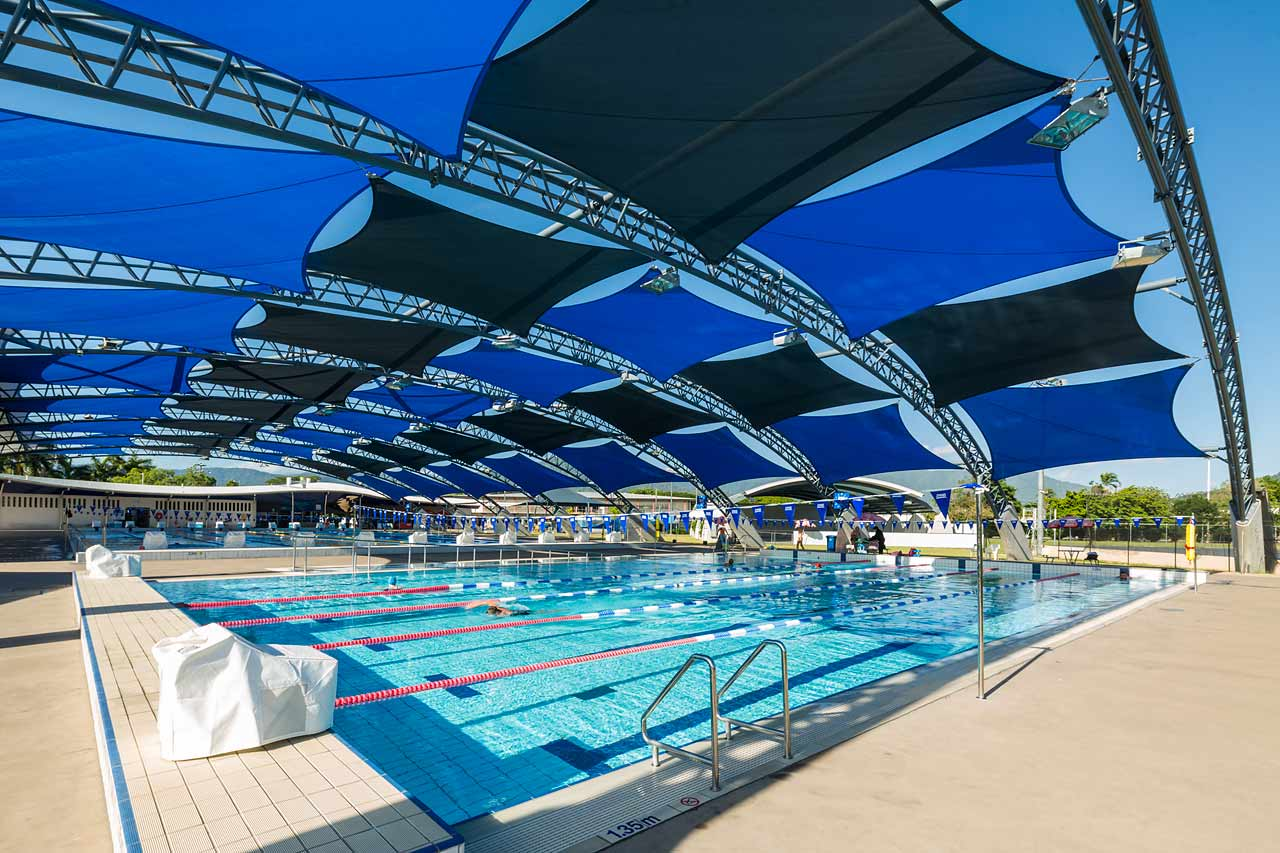 Image of shaded pools at Tobruk Memorial Aquatic Centre