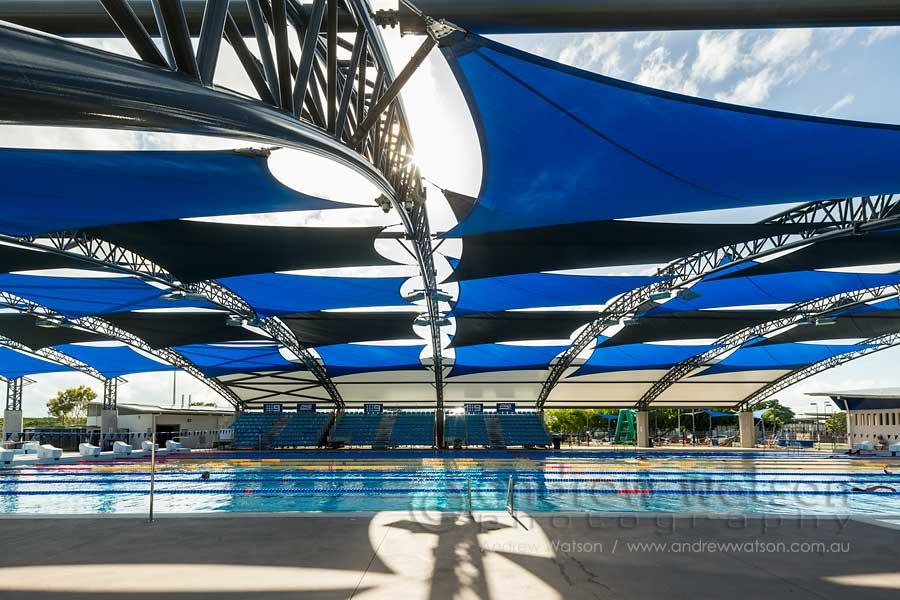 Image of the shaded Tobruk Memorial Pool in Cairns