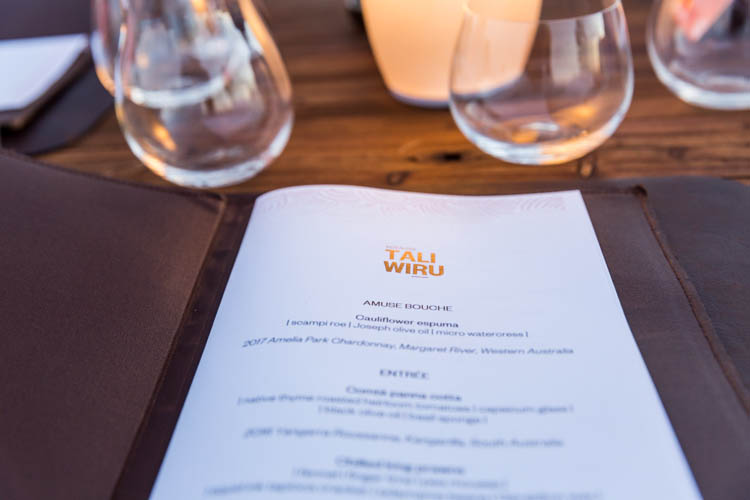 Image of the menu for the Tali Wiru dining experience at Uluru