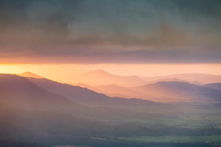 Image of sunrise in the Pioneer Valley, Mackay, Queensland