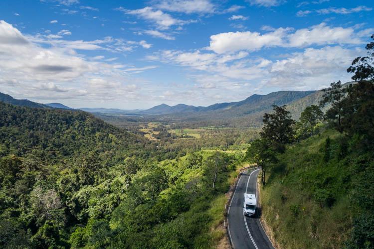 Image of campervan on winding road in the Pioneer Valley, Mackay