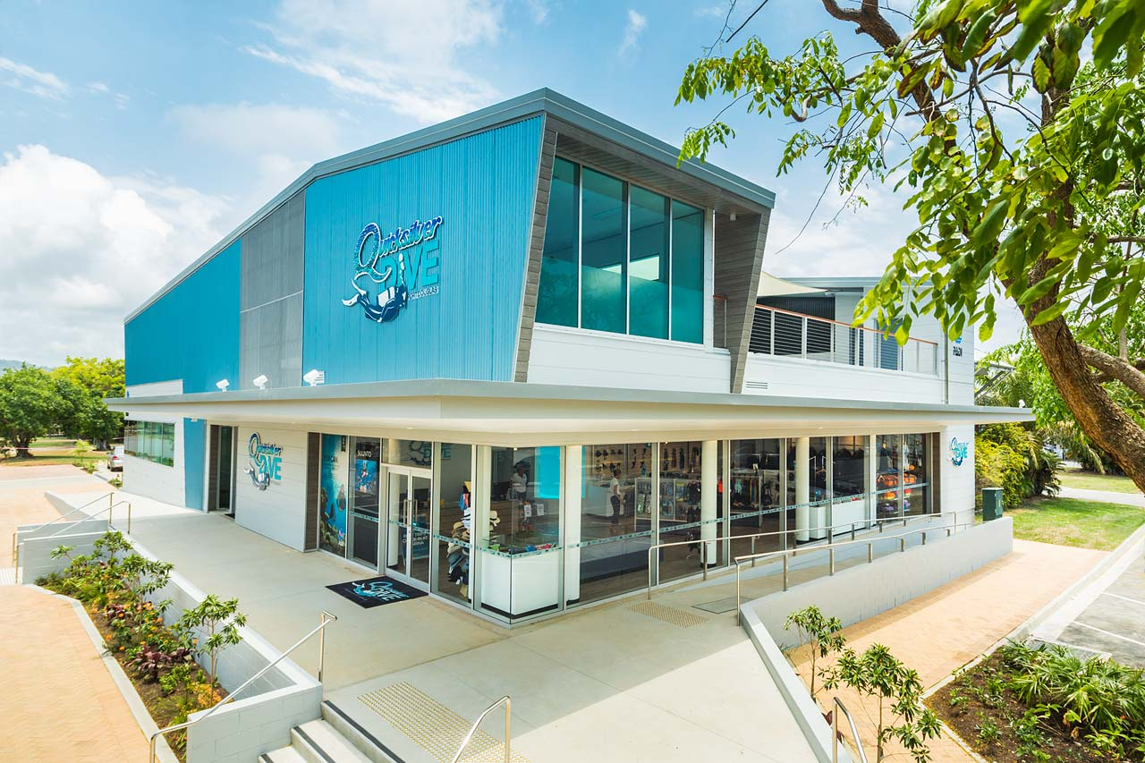 Exterior of the Quicksilver Dive Centre showing the retail and training levels