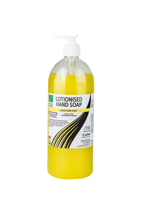 Bottle of lotionised hand soap on white background