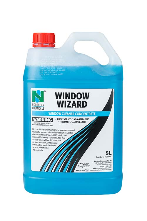 Container of window cleaner concentrate on white background