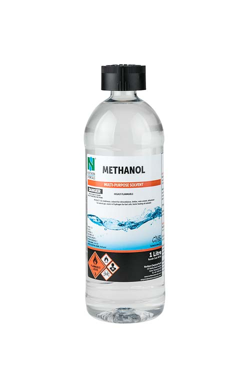 Bottle of methanol on white background
