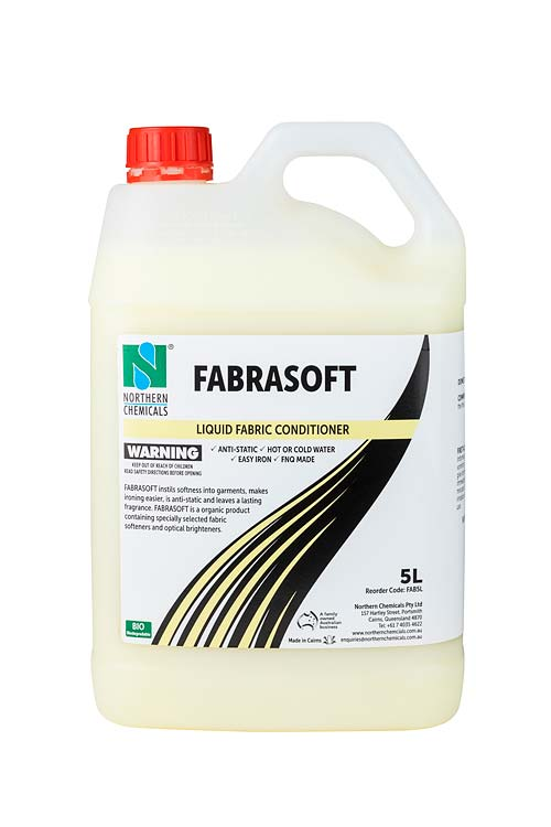 Bottle of liquid fabric conditioner against white background