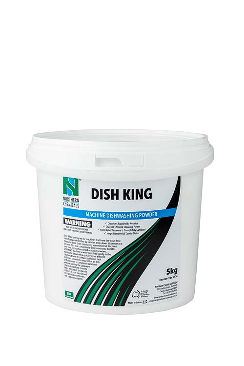 Tub of machine dishwashing powder against white background