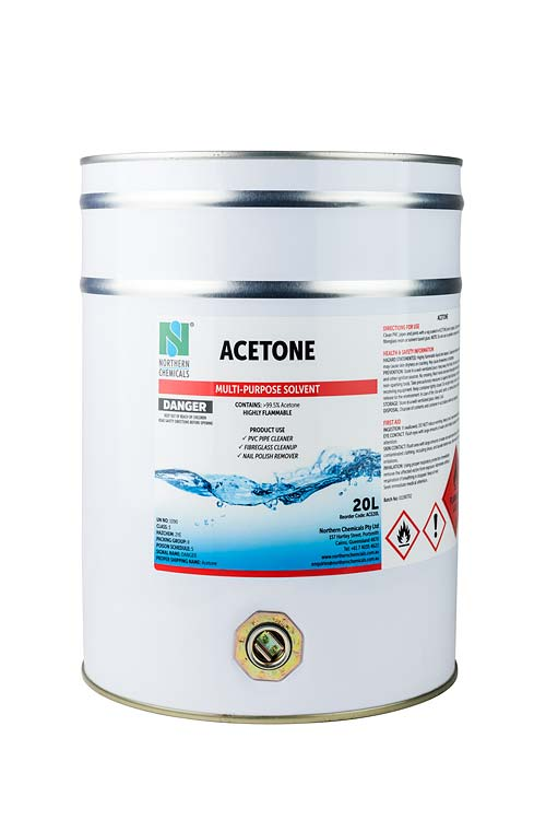 Drum of acetone solvent against white background