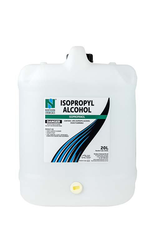 Container of isopropanol against white background