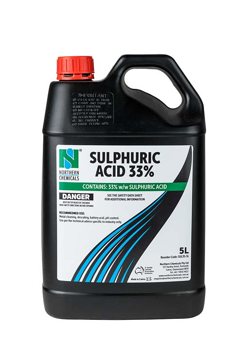 Bottle of sulphuric acid against white background